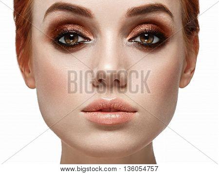 Beautiful Woman Face Close Up. Smoky Black Make Up On Eyes. Beautiful Portrait.
