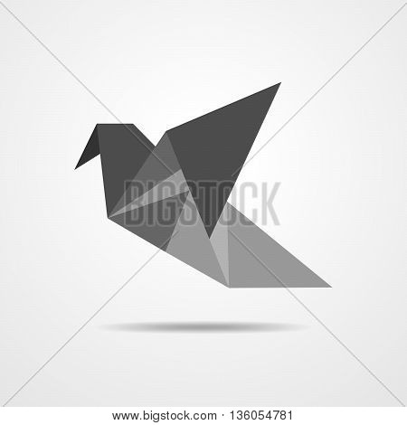 Abstract triangular bird in low polygon style. Simple gray bird in polygonal style - vector illustration.