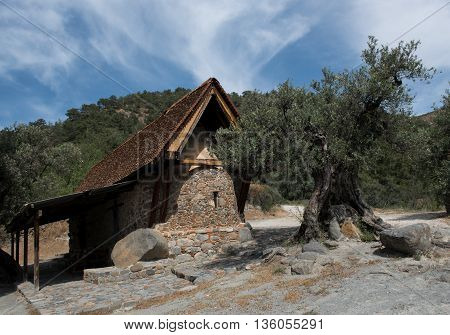 Holy Ancient orthodox Christian church of Agia Paraskevi saint Paraskevi at mountain village of Askas in Cyprus.