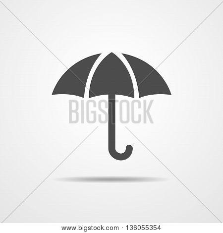 Umbrella icon in flat design. Black with umbrella - vector illustration.