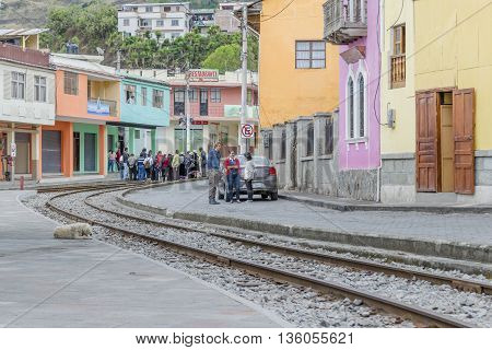 ALAUSI, ECUADOR, OCTOBER - 2015 - Urban scene of small Alausi town located in Ecuador South America