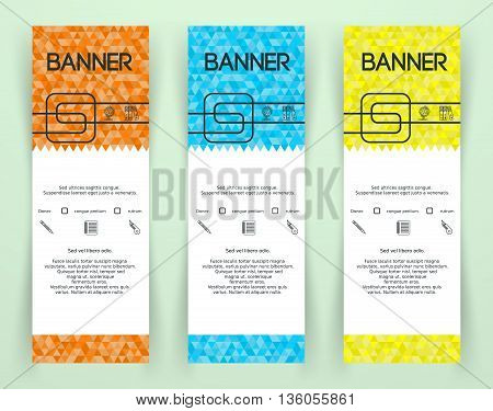 Bright Colorful Triangle Banners. Abstract geometric Texture. Triangle Mosaic Colored Banner Design. Vector illustration.