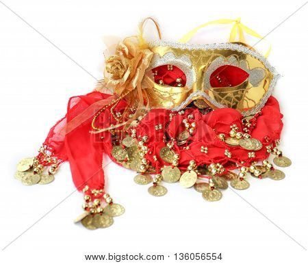 fabric with sewn coins for belly dance with passion skirt and Golden Mask for carnival