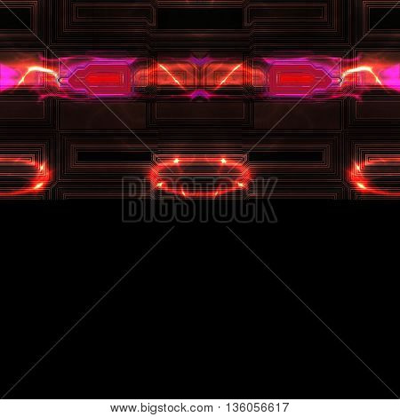 Abstract dark background of rectangular geometric shapes, stylized batteries and red circular discharges