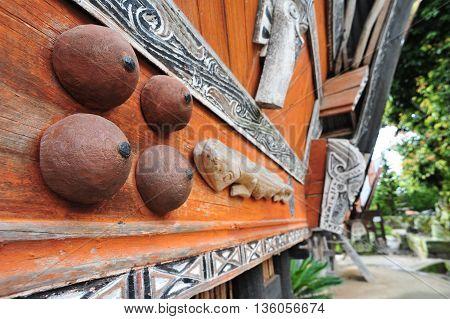 Ethnic Sumatran Batak house ornaments in Toba lake sumatra Indonesia