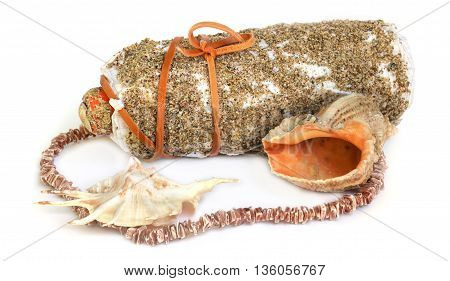 large shells coral beads necklace bottle plastered with sand tied with a cord