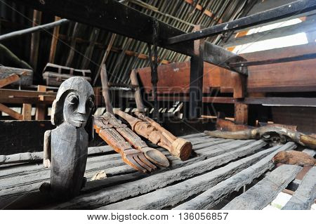 Ethnic Batak handcraft in a Traditional Batak House in Toba Lake of Sumatra Indonesia