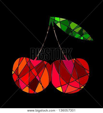 dark background and abstract image cherry consisting of lines