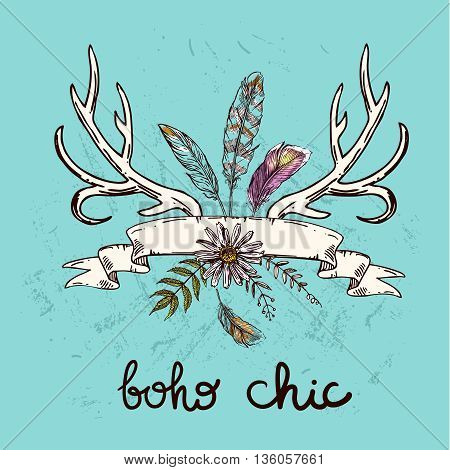 Boho Style hand drawn poster with horns, feathers and flowers. Boho vector illustration. Use for t-shirt prints, posters, boho wedding, postcards.
