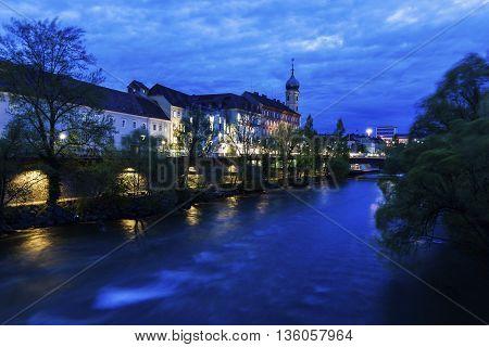 Franziskanerkirche by Mur River. Graz Styria Austria.