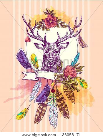 Boho Style hand drawn poster with deer and feathers. Boho vector illustration. Use for t-shirt prints, posters, boho wedding, postcards.