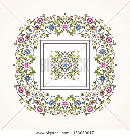 Vector Floral Frame For Design Template.