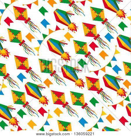 Seamless Pattern Of Festa Junina Village Festival In Latin America.