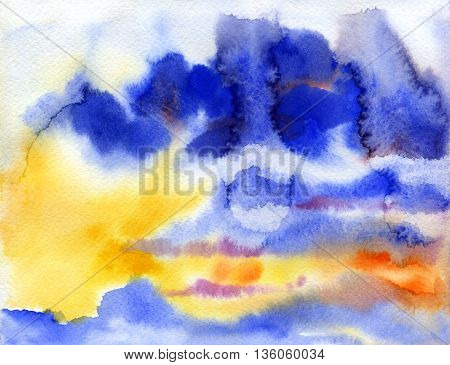 Watercolor sunset sky. Clouds background. Hand painting. Illustration for greeting cards invitations and other printing projects.