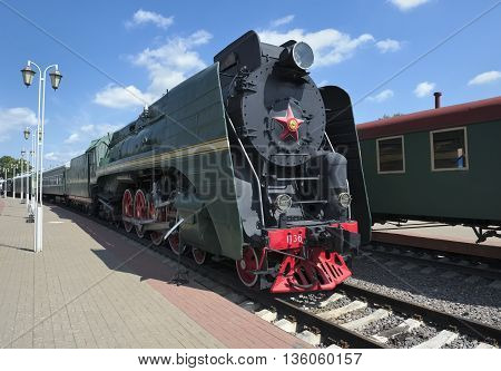MOSCOW, RUSSIA - JUNE 23, 2016: Museum of Railway Transport of the Moscow railway Soviet mainline passenger locomotive P36-0001 manufactured Kolomenskiy Locomotive Works
