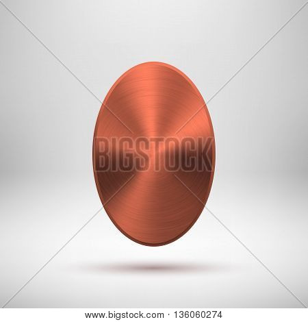 Bronze abstract ellipse badge, blank button template with metal texture, chrome, silver, steel, copper, rust and realistic shadow for logo, design concepts, prints, web. Vector illustration.