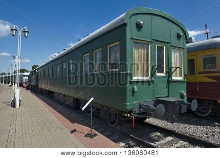 MOSCOW, RUSSIA - JUNE 23, 2016: Museum of Railway Transport of the Moscow railway passenger wagon-salon Vladikavkaz type two tambour second class number 9 built in 1913