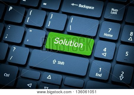 Laptop Keyboard. The Focus On The Solution Key.