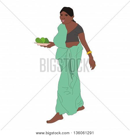 Illustration married woman wearing a green sari with a plate of avocado in her hands