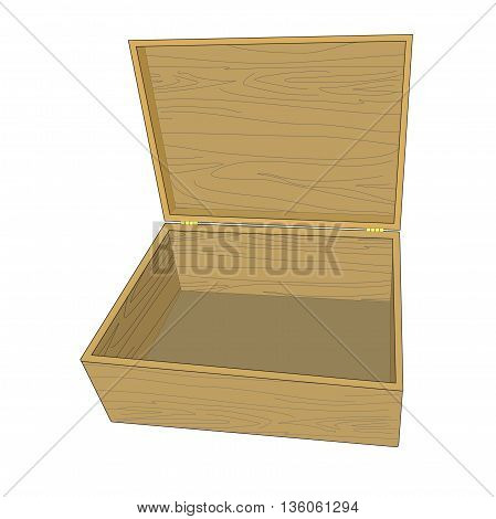 Illustration open wooden box isolated on white background