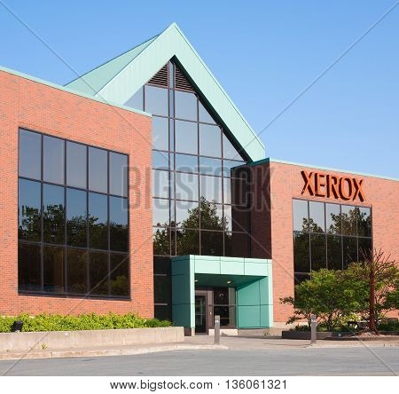 BURNSIDE CANADA - JUNE 26 2016: Xerox Corporation is an American business service and technology product company that operates globally. Xerox headquarters is located in Norwalk CT.