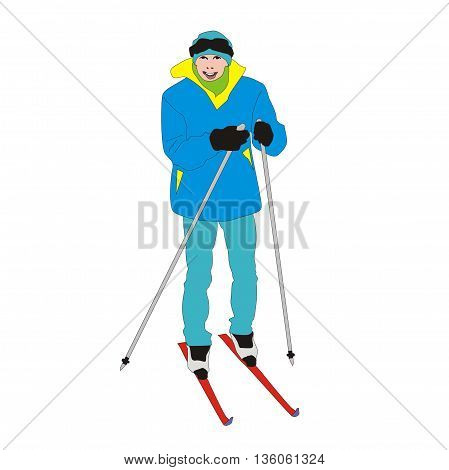 Illustration skier amateur young student isolated on white background