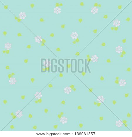 tiny floral pattern on blue background Vector image.