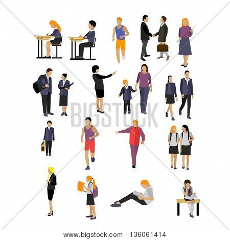 Vector set of pupils and teachers in school isolated on white background. School and college icons and design elements.