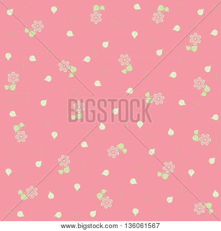 Delicate floral background. Pink cute floral pattern