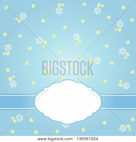 Blue vector card template. Floral card and background.