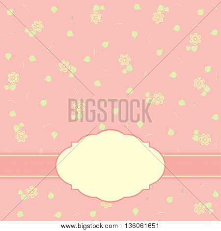 Pink vector card template. Floral card and background.