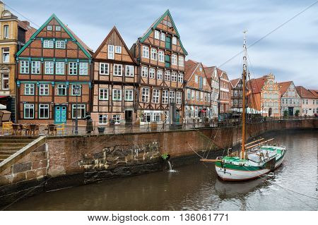 Beautiful canal in central Stade city, Lower Saxony, Germany