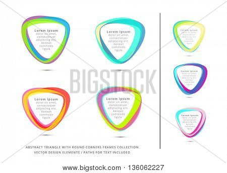 COLORFUL TRIANGLE FRAMES COLLECTION / VECTOR DESIGN ELEMENTS , BRIGHT COLORS