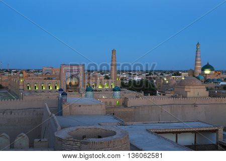 View over the old city of Khiva in Uzbekistan.
