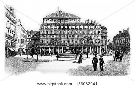 Comedie-Francaise or Theatre-Francais or Salle Richelieu or French Theatre in Paris, France. Vintage engraving.