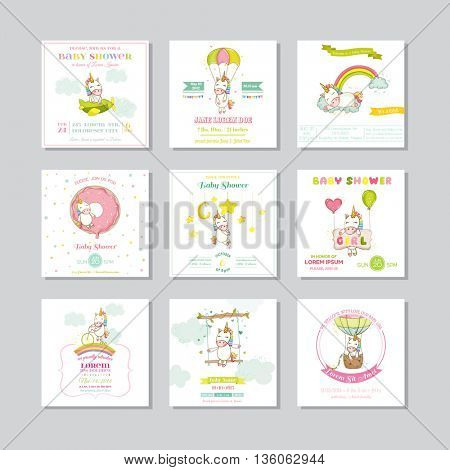 Baby Shower Card. Arrival Baby Card. Baby Unicorn Girl. Vector Set.