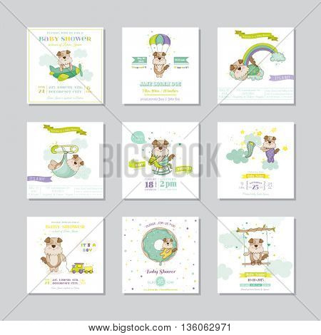 Baby Shower Card. Arrival Baby Card. Baby Dog Boy. Vector Set.