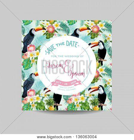 Save the Date Card. Tropical Toucan Bird. Wedding Card. Invitation Card. Vector