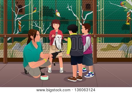 A vector illustration of kids feeing bird in a zoo