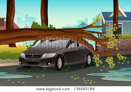 A vector illustration of tee on a damage car after heavy rain