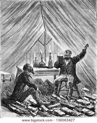 Six thousand miles through South America. Two men in a tent reading books by candlelight. From Travel Diaries, vintage engraving, 1884-85.