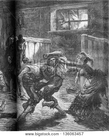 A brawl in a flophouse in London. The woman and her companions called for help. From Travel Diaries, vintage engraving, 1884-85.