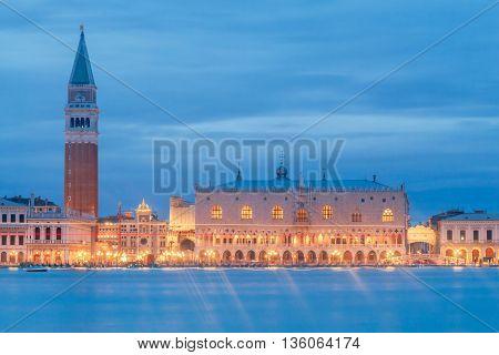 View of the main embankment of the Venetian night.