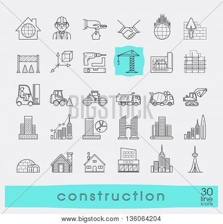 Set of construction icons. Collection of line vector icons presenting various stages of building process. Civil engineering. Work on construction site.