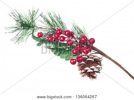 artificial pine tree branch isolated on white background