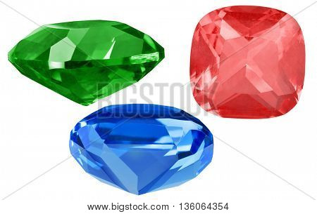 three bright gems isolated on white background