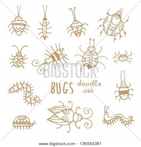 Cartoon bugs set. Different species of beetles.  Funny insects collection. Doodle style. Vector contour image no fill.