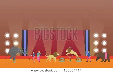 Circus interior concept vector banner. Artists perform show in arena. Circus interior. Animals show and performance.