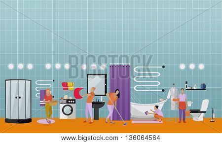 Cleaning service concept vector banner. People cleaning house. Apartment bathroom interior. Housekeeping company team at work.