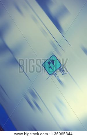 Shortcut symbol with blurred surroundings. Conceptual background